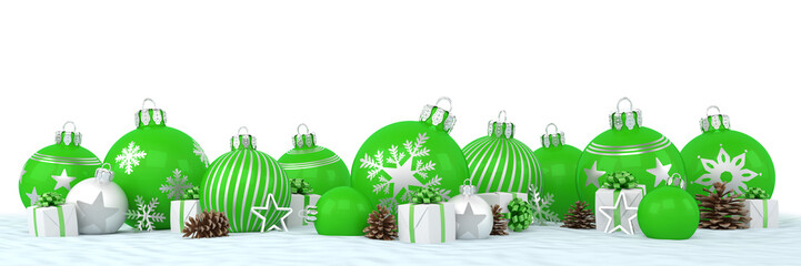 Many green and silver christmas baubles and christmas decorations over white background - panorama - merry christmas concept