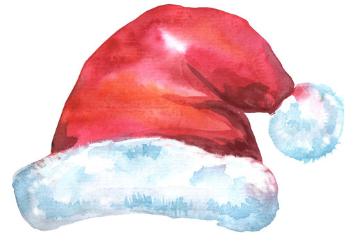 Christmas Santa red hat, watercolor