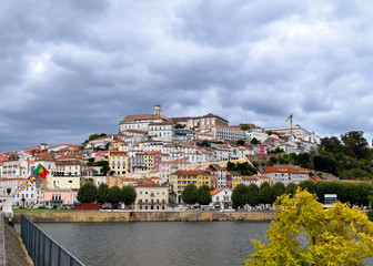Historic university hill of Coimbra from the across the Mondego River, Portugal