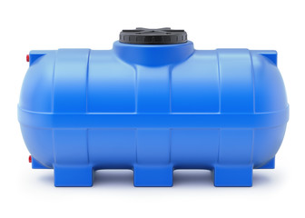 Blue plastic water cistern on white background