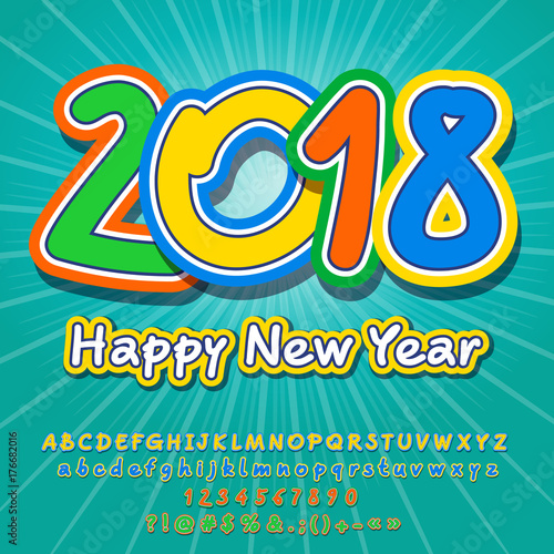 Vector Happy New Year 2018 greeting card for Children  Funny