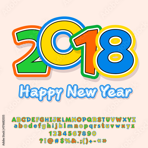 vector happy new year 2018 greeting card for kids colorful alphabet letters numbers