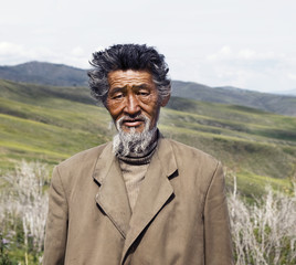 Senior Mongolian man.