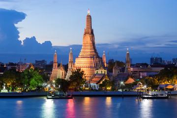 Blue twilight night Arun temple river front, Bangkok Thailand Landmark