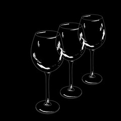 Outlines of three wine glasses lined up in a row on black background.Vector illustration