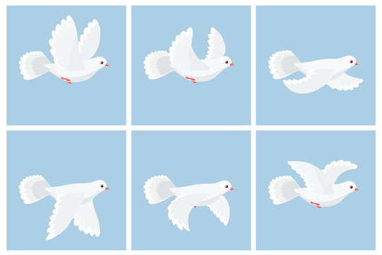 Cartoon flying dove animation sprite sheet