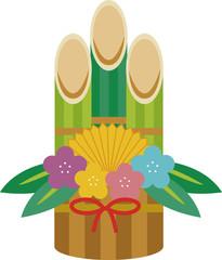 イラスト素材:かわいい門松の年賀素材
