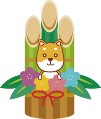 イラスト素材:かわいい犬と門松の年賀素材
