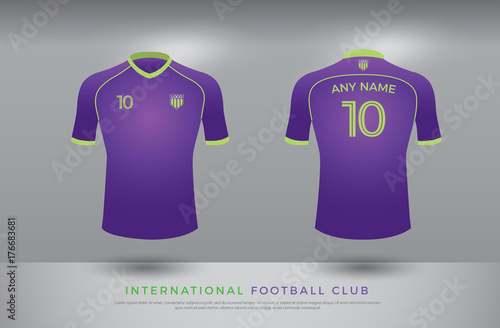 cb6c806a881 soccer t-shirt design uniform set of soccer kit. football jersey template  for football club. purple and green color