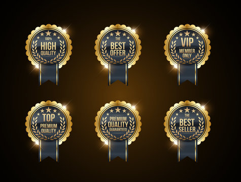 Vector vintage badges collection 100% high quality, the best offer, vip member only, top premium quality, premium quality guaranteed and best seller. gold and black colour
