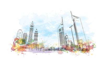 Watercolor splash with sketch of Emirates Tower Dubai UAE in vector illustration.