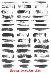 Grungy brush strokes set over white background. Elements for your work and design. Eps10