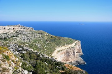 Elevated view of the Dingli cliffs and sea, Dingli, Malta.