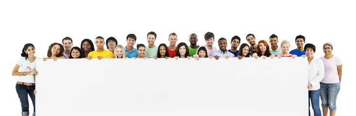 Group of diverse people with blank board isolated on white