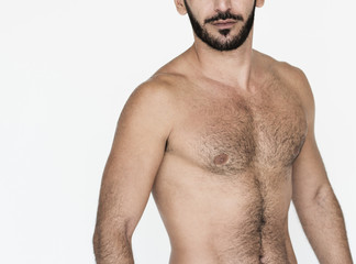 Middle Eastern Man Bare Chest Studio Portrait