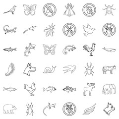 Fauna icons set, outline style