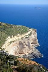 Elevated view of the Dingli cliffs and sea, Dingli, Malta.