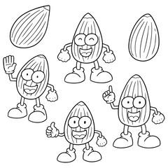 vector set of almond cartoon