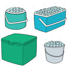 vector set of ice bucket
