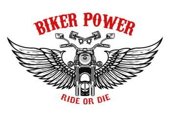 Winged motorcycle. Design elements for poster, flyer, banner. Vector illustration