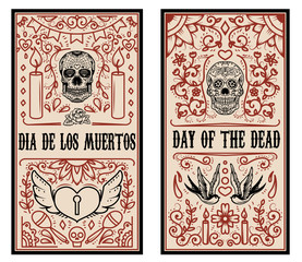 Set of Dead day banner template. Sugar skulls. Design elements for poster, flyer, banner. Vector illustration