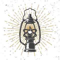 Vintage kerosene lamp with light lines. Design element for poster, greeting card, banner. Vector illustration