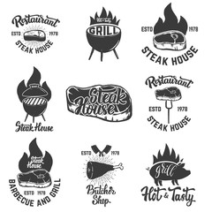 Set of steak house emblems. Grilled meat.