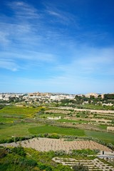 Elevated view of the town and surrounding countryside during the Springtime, Imtarfa, Malta.