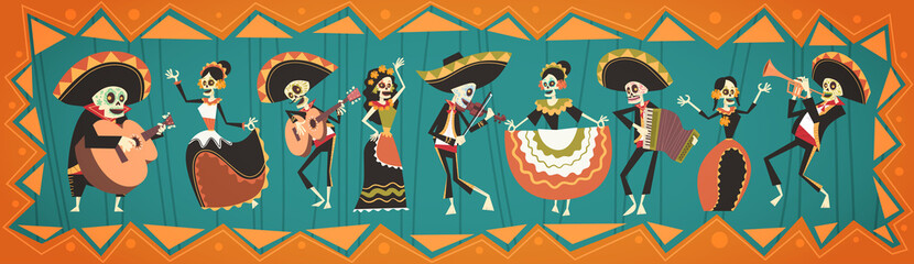 Day Of Dead Traditional Mexican Halloween Dia De Los Muertos Holiday Party Decoration Banner Invitation Flat Vector Illustration Wall mural