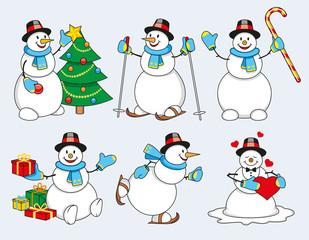 Set of cartoon snowman