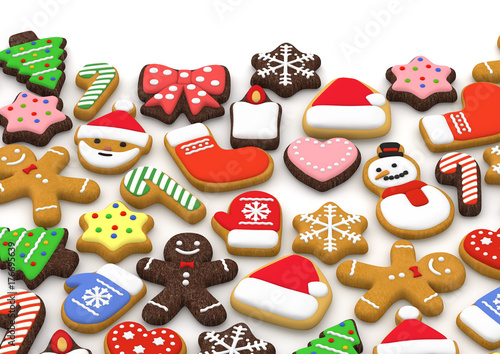 Colorful Christmas Cookies 3d Illustration Stock Photo And Royalty