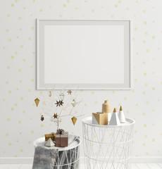 Modern Christmas interior, Scandinavian style. 3D illustration. poster mock up