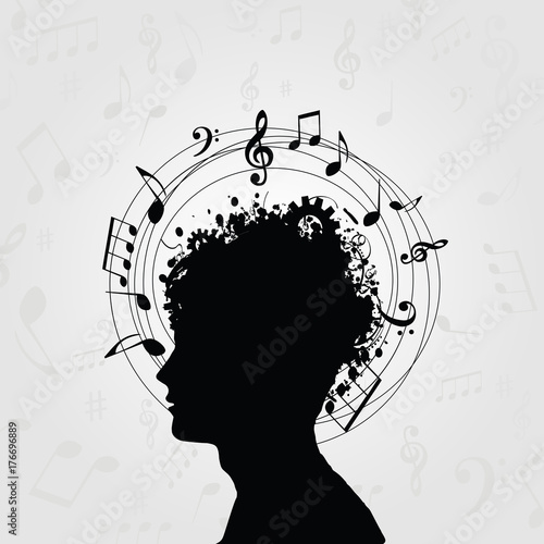 Black and white man silhouette with music notes  Music symbols with