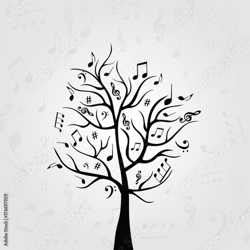 Black and white music tree with music notes  Music symbols