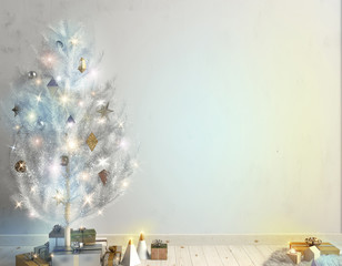 Modern Christmas interior of Scandinavian style with shining lights Christmas tree. 3D illustration. wall mock up