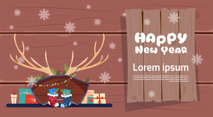 Merry Christmas And Happy New Year Greeting Card Winter Holiday Concept Banner Flat Vector Illustration