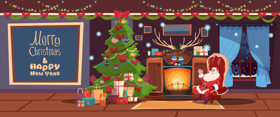 Merry Christmas And Happy New Year Greeting Card Santa Sitting Near Fireplace Winter Holiday Concept Banner Flat Vector Illustration