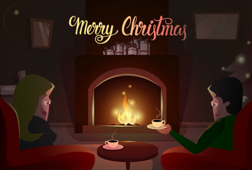 Couple Sitting Near Fireplace, Merry Christmas And Happy New Year Winter Holiday Concept Banner Flat Vector Illustration
