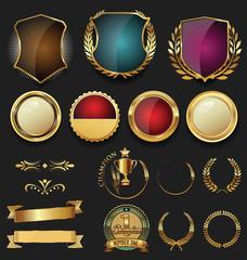 Golden shields and laurel wreaths retro design collection
