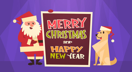 Merry Christmas And Happy New Year Greeting Card Santa Claus With Dog In Red Hat Winter Holidays Concept Banner Flat Vector Illustration
