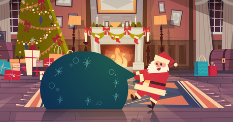Merry Christmas And Happy New Year Greeting Card Santa Holding Big Present Sack In Decorated Living Room Winter Holidays Concept Banner Flat Vector Illustration