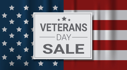 Veterans Day Sale Celebration Shopping Promotions And Price Discount National American Holiday Banner Vector Illustration