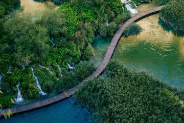 Beautiful waterfalls in Plitvice Lakes, National Park of Croatia