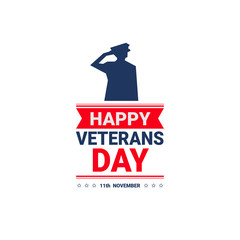 Veterans Day Celebration National American Holiday Icon Greeting Card With Usa Flag Vector Illustration