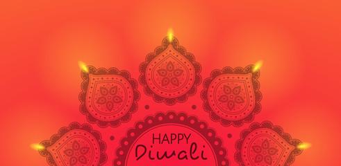 Illuminated diya - Indian oil lamp. Concept of card for Diwali. Vector.