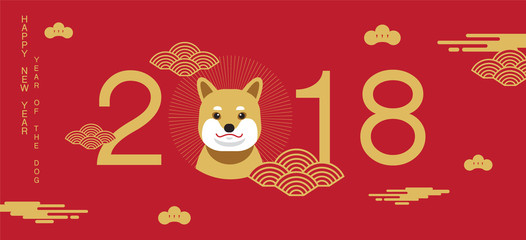 happy new year, Dog 2018, Chinese new year greetings, Year of the Dog , fortune