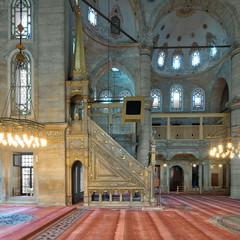 Marble floral golden ornate minbar (Platform), Eyup Sultan Mosque, Istanbul, Turkey