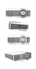 White multimedia projectors isolated on white background.