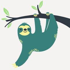 Sloth hanging on the tree. Vector illustration.