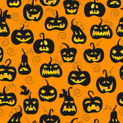 Seamless pattern on the theme of Halloween, different shapes dark pumpkin on orange background